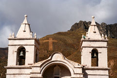 Bell Towers. Small church in the Chivas village near Canyon Colca in Peru stock photos