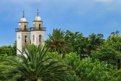 Bell towers of Basilica of the Holy Sacrament in Colonia del Sac Royalty Free Stock Photos