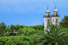 Bell towers of Basilica of the Holy Sacrament in Colonia del Sac Stock Photos