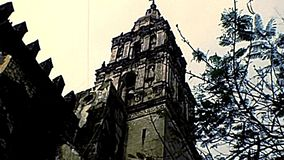 Bell towers Cathedral of Cuernavaca of Mexico. Details and bell towers of the Mexican Cathedral of Cuernavaca. Archival of Mexico in Morelos state, South America stock footage