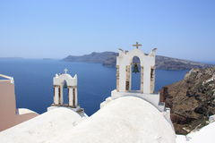 Bell towers of a chapel, Oia, Santorini Royalty Free Stock Photography
