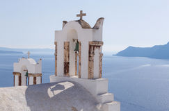 Bell towers on church in Oia Stock Photography