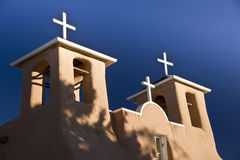 Bell Towers at Dawn. Bell tower at the church of St. Francis of Assisi in Taos New Mexico stock images