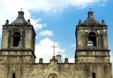 Bell towers of Mission Concepcion church in San Antonio Texas Royalty Free Stock Photos
