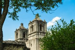 Bell towers of Mission Concepcion church in San Antonio Texas. San Antonio, Texas: Facade bell towers of the Mission Concepcion church, part of the San Antonio stock photos