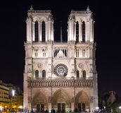 Bell Towers of Notre Dame at Night Stock Photos