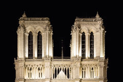 Bell Towers of Notre Dame at Night Stock Images