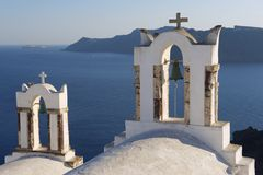 Bell towers in Oia, Santorini, Greece. Stock Images