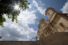 Bell towers of Saint Nicholas's Cathedral in Noto Royalty Free Stock Photography