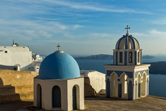 Bell towers in town of Firostefani, Santorini island, Thira, Greece Royalty Free Stock Photography