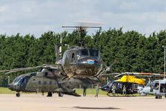 Bell UH-1H Iroquois Huey militarny oszczędnościowy helikopter G-HUEY Zdjęcie Stock