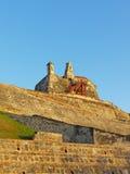 Bell und Aussichtstürme auf Festung Sans Felipe de Barajas in Cartagena, Kolumbien Lizenzfreies Stockfoto