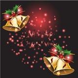 Bell und Band mit Weihnachtshintergrund und Grußkartenvektor lizenzfreie abbildung