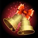 Bell und Band mit Weihnachtshintergrund und Grußkartenvektor stock abbildung