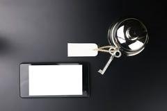 Bell und der Schlüssel an der Aufnahme im Hotel Lizenzfreie Stockfotografie