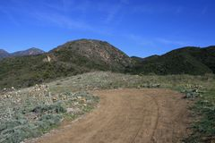 Bell View Trail. Dirt road through rolling hills, Orange County, CA Royalty Free Stock Photos
