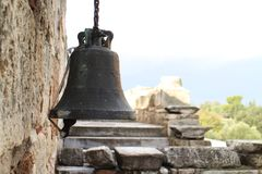 Bell on wall in Ancient Agora of Athens. Greece Stock Photography