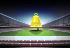 Bell welcome ring in midfield of magic football stadium Royalty Free Stock Photos