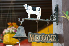 Bell and welcome sign Royalty Free Stock Photos