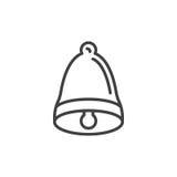 Bell wykłada ikonę, konturu wektoru znak, liniowy stylowy piktogram odizolowywający na bielu Fotografia Royalty Free