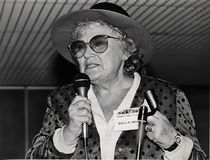 Bella Abzug. Liberal New York Democratic Congresswoman Bella Abzug gives a powerful keynote speech at the First International Conference of Jewish Feminists in stock photography