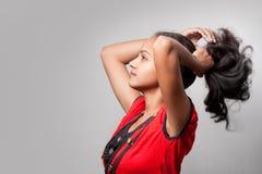 Bella acconciatura della ragazza indiana Fotografia Stock
