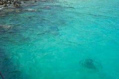 Bella acqua di mare verde del turchese Fondo idilliaco di vista sul mare fotografia stock