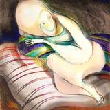 Bella addormentata, attingente carta Fotografia Stock