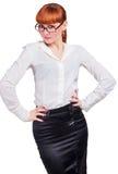 Bella affare-signora della foto in occhiali Immagini Stock Libere da Diritti
