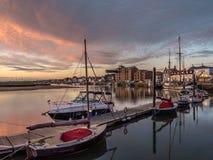 Bella alba al porto Norfolk di pozzi Fotografie Stock Libere da Diritti
