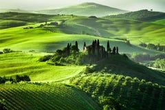 Bella alba in d'Orcia di San Quirico, Toscana Immagini Stock Libere da Diritti
