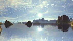 Bella alba sopra Rocky Gulf stock footage