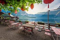 Bella alba sopra un lago in Hallstatt, alpi, Austria, Europa Fotografie Stock Libere da Diritti