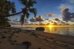 Bella alba sulla spiaggia di paradiso, Seychelles 3 Immagini Stock Libere da Diritti