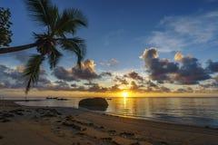 Bella alba sulla spiaggia di paradiso, Seychelles 5 Fotografia Stock Libera da Diritti