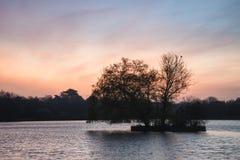 Bella alba vibrante della primavera sopra il lago calmo nel titolo inglese Fotografia Stock