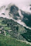 Bella alta vista verticale di Machu Picchu peru Il Sudamerica Immagini Stock Libere da Diritti