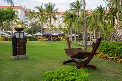Bella amaca nella località di soggiorno tropicale Fotografia Stock