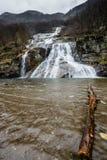 Bella ampia cascata con un foro di nuoto nella priorità alta nel primo mattino in Svizzera del sud Fotografie Stock Libere da Diritti