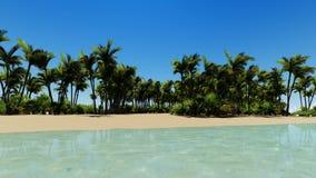 Bella antenna tropicale della spiaggia - una vista di occhio dell'uccello delle onde di oceano illustrazione di stock