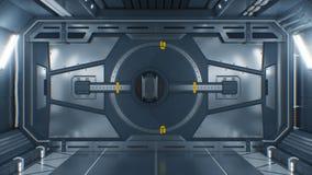 Bella apertura astratta del portone del metallo sul fondo nero Animazione futuristica 3d con lo schermo verde Ingresso d'acciaio  royalty illustrazione gratis