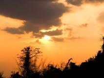 Bella arancia del cielo di tramonto thailand Fotografia Stock Libera da Diritti