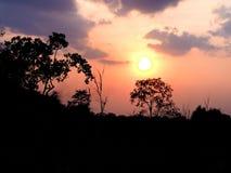 Bella arancia del cielo di tramonto thailand Immagine Stock