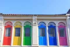 Bella architettura Cino-portoghese di molti le costruzioni dentro fotografie stock