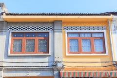 Bella architettura Cino-portoghese di vecchia città di Phuket immagine stock libera da diritti