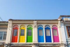 Bella architettura Cino-portoghese di vecchia città di Phuket, Thaila fotografia stock libera da diritti