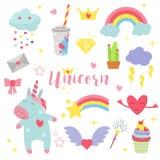 Bella arte di favola dell'unicorno del bambino di vettore dell'illustrazione dell'arcobaleno di progettazione leggiadramente magi Immagine Stock Libera da Diritti