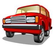 Bella automobile rossa del fumetto su fondo bianco Fotografie Stock