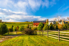 Bella azienda agricola nella contea di York rurale, Pensilvania fotografia stock libera da diritti