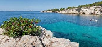 Bella baia del turchese a Ibiza Immagine Stock Libera da Diritti
